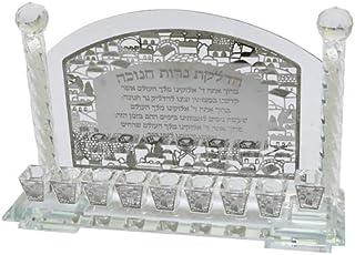 优质 Judaica 现代水晶烛台,带激光切割金属铭牌,祝福 Menorah