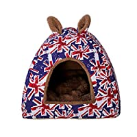 宠物狗窝垫 室内冬季保暖猫窝 可折叠宠物窝 猫睡袋 猫咪用品 猫床 蓝色 L号45*45 * 40(cm)