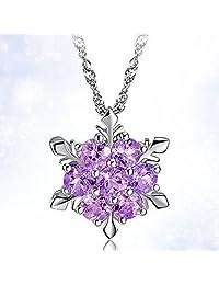 女式女孩 Elsa 冰雪奇缘水晶雪花纯银项链 紫色吊坠