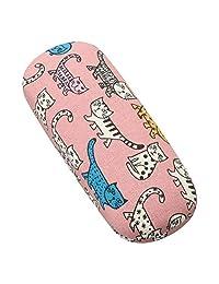 Meigan 可愛貓咪的眼鏡盒 粉色 金屬 硬質 彈簧式 2217-02