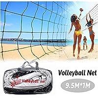 便携式排球锦标赛网后院海滩标准尺寸(32 英尺 x 3 英尺)训练排球网带钢缆绳(无杆),携带包室内户外排球套装适用于会场公园草坪