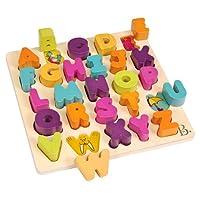B.Toys 比乐 木制字母积木 区分形状认知字母 益智玩具 18个月-5岁 BX1269Z 婴幼儿童益智玩具 礼物