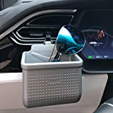 WJM 通用汽车通风口安装插座存储盒袋袋袋支架,手机悬挂式口袋仪表板收纳盒适用于智能手机、眼镜、钢笔、硬币、钥匙、信用卡 银色 Silver