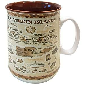 加勒比群岛纪念品古棕色地图压花陶瓷咖啡马克杯茶杯 311.84 毫升 U.S VIrgin Islands