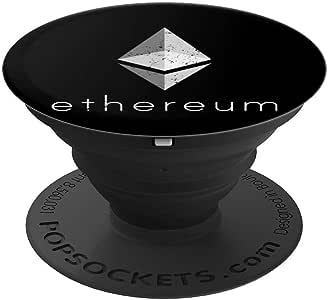 ETH Ethereum 徽标做旧图形 适用于 Crypto - PopSockets 手机和平板电脑的握把和支架260027  黑色