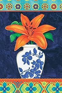 托兰 家居花园 中国花瓶 百合花 71.12 x 101.6 厘米 装饰性 彩花 春 夏 房间 旗