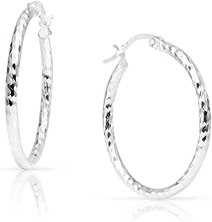 SOLIDSILVER- 纯银轻质按扣高抛光纹理钻石切割环状耳环适合女士、女孩和青少年尺寸 15-70mm