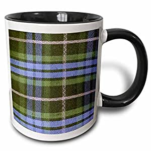 3drose inspirationzstore tartans–蓝色和绿色格子图案,黑色和灰色灰色–格子 checks 方格苏格兰苏格兰–马克杯 黑色/白色 11 oz