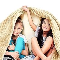 品质 - 优质加重毛毯 Light Grey Cotton Blanket + Ivory Minky Cover 41''x60'' | 10lbs WB-AWB-4160-10LBS-IVORY