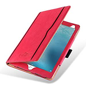 """iPad Pro 9.7"""" Case, JAMMYLIZARD The Original Red & Tan Leather Smart Cover, with Pencil Holder"""