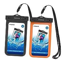 MOKO [ 2包 ] 通用防水手机保护套带臂带 & 领肩带适用于设备和配件 UP TO 15.2cm Black & Orange 2 件装
