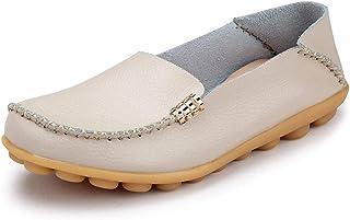 Ablanczoom 女式舒适皮革花卉印花平底鞋休闲驾驶乐福鞋女式步行鞋 米色 1 12.5