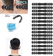 面具耳罩,面具耳绳延长器支架带挂钩适用于各种面具,抗紧绷耳罩缓解耳部不适和* 15Pack 黑色