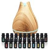 Ultimate Aromatherapy 套装 - 300 毫升超声波扩散器带 20 种基础植物油 - 4 种定时器和 7 种环境光设置 - *级精油