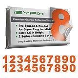 2 套 10.16 cm 数字贴花,高级乙烯基贴纸模切和预涂胶,适用于邮箱、窗户、门、汽车、卡车、家庭、商业、地址号码,适用于 iSYFIX 室内或室外使用。 Reflective Orange 1.5英寸 DENMREFORA15IN