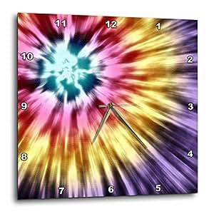 DPP _ 18139珀金斯设计集锦–扎染紫色 starburst 扎染设计紫色黄色和红色–挂钟