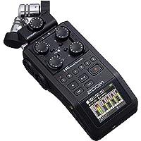 Zoom H6 全黑(2020版)6 轨便携式录音机、立体声麦克风、4 XLR/TRS 输入、SD 卡、USB 音频接口、电池供电(播客和音乐)
