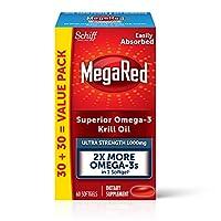 Schiff 旭福 MegaRed 1000mg 強度Omega-3磷蝦油 - 無魚腥余味魚油,60粒軟膠囊