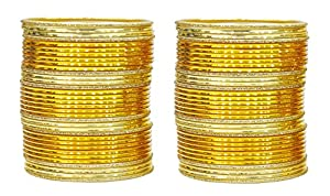 Exclusive Beautiful Indian Traditional Ethnic Set Of 68 Bangles For Women's Jewelry (Turmeric Color)