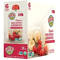 Earth's Best第2阶段,香蕉,覆盆子和糙米,4.2盎司(119克) 袋(12包)(包装可能会有所不同)
