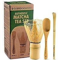 BambooWorx 日本茶具,Matcha Whisk (Chashaku),传统勺子,准备传统马查杯的完美套装。