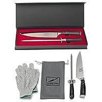 Koku 专业日本刀 - 超锋利 8 英寸厨师刀 - 高碳不锈钢厨房刀 - 还包括:刀刀、一对凯夫拉(防切割)手套和袋,加储物盒 Pakka Knife Set - Glove Medium KUKO-8PRO-CutSharp-M
