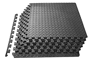 Prosource 拼图运动垫, EVA 泡沫互扣瓦,防护木地板适用于健身房设备和靠垫适用于 workouts 灰色 24 平方英尺