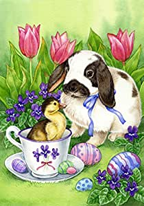Toland Home Garden Easter Friends Garden Flag 粉红色/紫色 House-Large-28x40-Inch