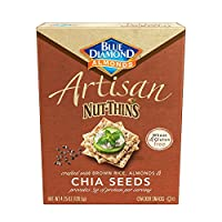 Blue Diamond Almonds Artisan Nut Thins Cracker Crisps, Chia Seeds, 4.25 Ounce (Pack of 12)