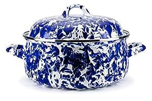 Enamelware -Colbalt 蓝色漩涡图案 - 4 夸脱荷兰锅