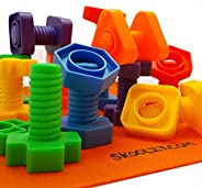 Skoolzy Nuts and Bolts 精细运动技能 - 职业*幼儿玩具 - Montessori 建筑 儿童匹配游戏 适用于学龄前儿童 - 特大号 24 件套,带背包和活动下载