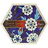 Truede Hexagonal Wooden Box with Rose and Lemon Turkish Delight 250 g