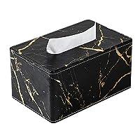人造皮革大理石印花纸巾盒面巾盒和桌面收纳盒,适用于客厅餐厅/咖啡吧 Tissue Box 黑色金大理石