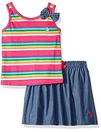 U.S. Polo Assn. 女童时尚上衣和裙子套装