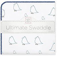 "swaddledesigns 终极婴儿毯, MAMA 和婴儿小鸡图案 亮蓝色 42"" x 42"""
