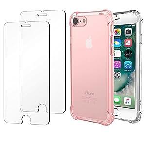 Advanced Impact 弹性纤薄防撞手机壳+ 2 x iPhone 7钢化玻璃屏幕保护膜MEIP700SP2RSCL For iPhone 7 Rose + Clear