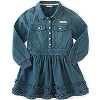 Calvin Klein 婴儿女童长袖牛仔连衣裙和内裤