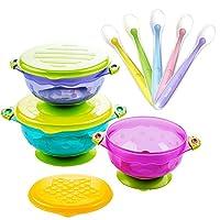 MICHEF 婴儿碗,婴儿喂食碗套装婴儿淋浴礼盒 3 件套带盖婴儿碗 Baby Bowls Set with Silicone Spoons
