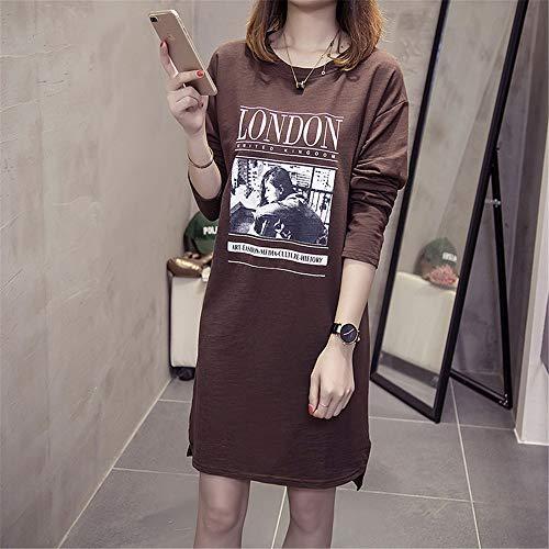 D  -  BuLunダンブルン秋の女性長袖Tシャツマルチスタイルオプションの野生のカジュアルな女性のラウンドネックルーズ大きいサイズの印刷シンプルなコットンセーターKJ-H