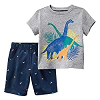 FreeLu 女童時尚服飾套裝 T 恤和短褲公主卡通服裝,適合 2-7 歲兒童