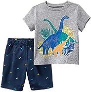 FreeLu 女童时尚服饰套装 T 恤和短裤公主卡通服装,适合 2-7 岁儿童