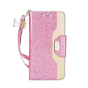 FYY Galaxy S7 Edge 手机壳,高级 PU 皮革钱包式手机壳带化妆镜和蝴蝶结带,适用于三星 Galaxy S7 Edge Y-Bling-Pink+Gold