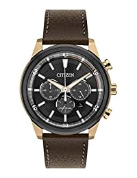 Citizen 西铁城 男式手表 太阳能 黑色表盘 模拟显示 棕色皮革表带 ca4346–06h