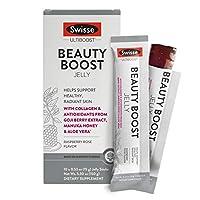 Swisse Ultiboost Beauty Boost啫喱果冻棒,覆盆子玫瑰| 海洋胶原蛋白,枸杞果抗氧化剂,麦卢卡蜂蜜,芦荟| 便携| 10支装