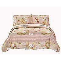 Linen Plus 大号双人床/加利福尼亚州大床 3 件套绗缝床单套装双面花卉拼接粉色米黄色绿色