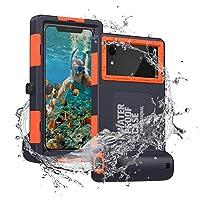 Fansteck 潜水手机套适用于三星 Galaxy 和 iPhone 系列,专业 [15m/50ft] 潜水浮潜冲浪游泳防水保护套水下外壳带挂绳(蓝色-橙色)