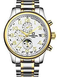 嘉年华手表 名匠系列全自动机械表 日历星期月份防水三眼多功能精钢带男表 间金白色腕表