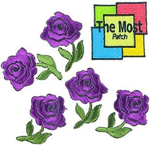 6 支 (5+1) 玫瑰花单只迷你多彩美丽的爱标志刺绣铁/缝在补丁上变体