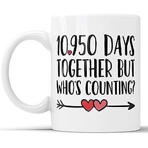 30 周年纪念咖啡马克杯 - 10950 天在一起但是谁数趣味婚礼周年礼物,30 周年纪念礼物,Jubilee 礼品杯 白色 11 oz