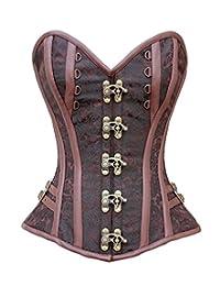 Charmian 女士蒸汽朋克哥特式锦缎螺旋钢骨紧身胸衣扣
